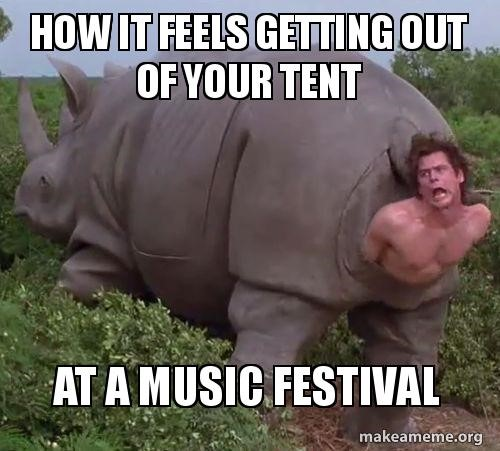 Sweating at a festival meme